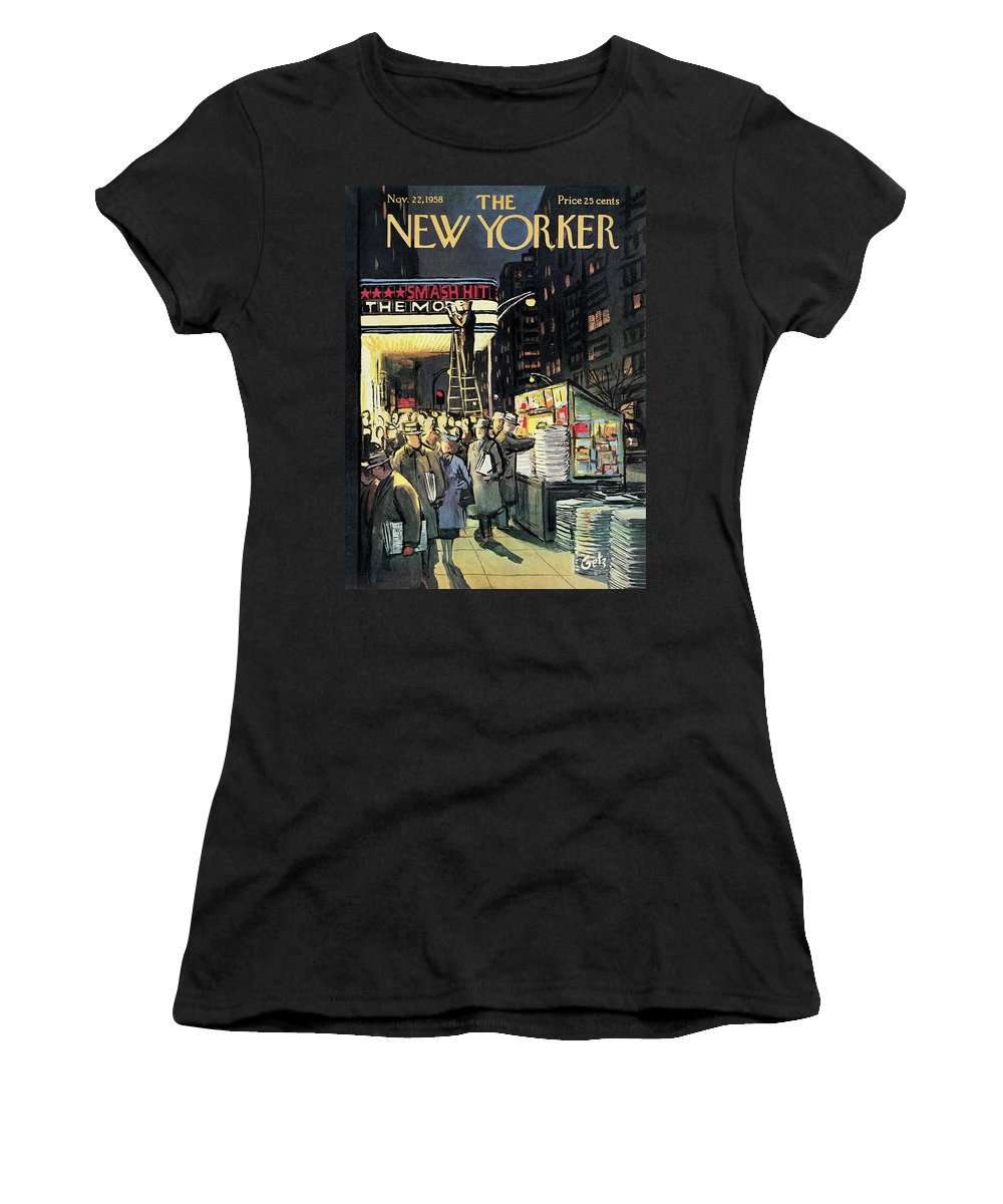 Entertainment Women's T-Shirt featuring the painting New Yorker November 22nd, 1958 by Arthur Getz