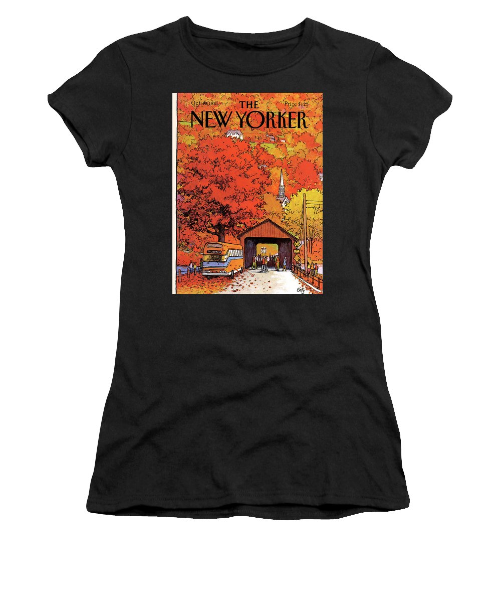 Season Women's T-Shirt featuring the painting New Yorker October 19th, 1981 by Arthur Getz
