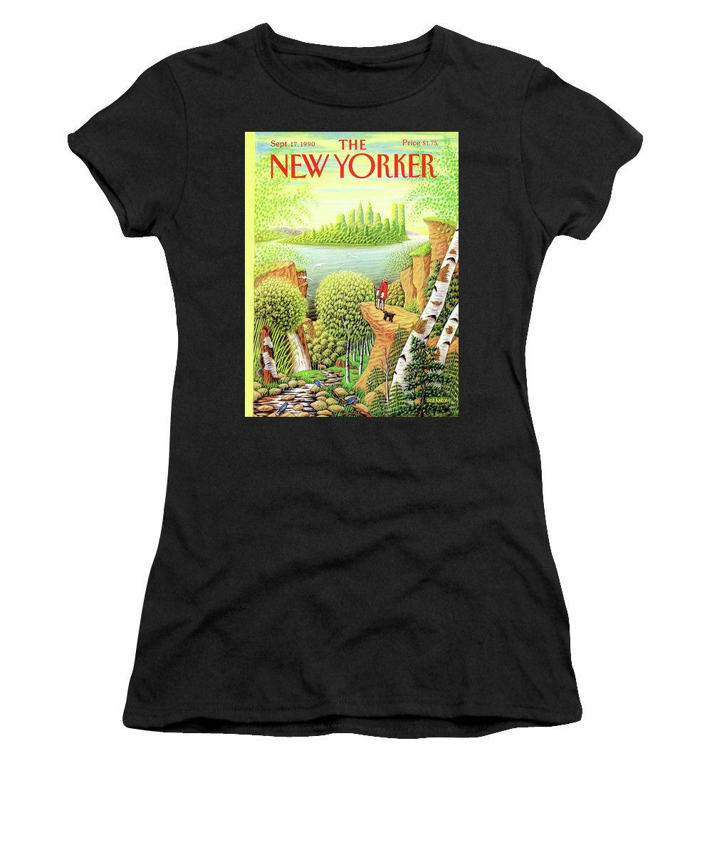 (a Man And His Dog Hike Through A Vast Landscape Of Woods Women's T-Shirt featuring the painting Green New York by Bob Knox