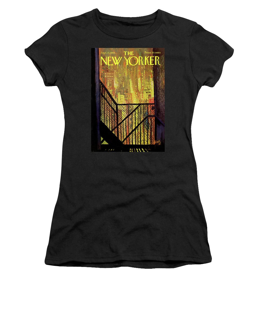 Arthur Getz Agt Women's T-Shirt featuring the painting New Yorker September 21st, 1968 by Arthur Getz
