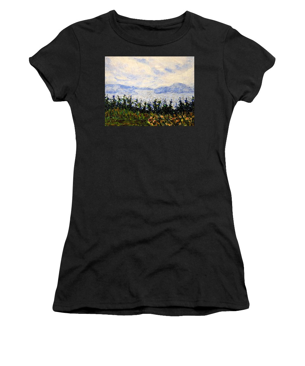 Newfoundland Women's T-Shirt (Athletic Fit) featuring the painting Newfoundland Up The West Coast by Ian MacDonald