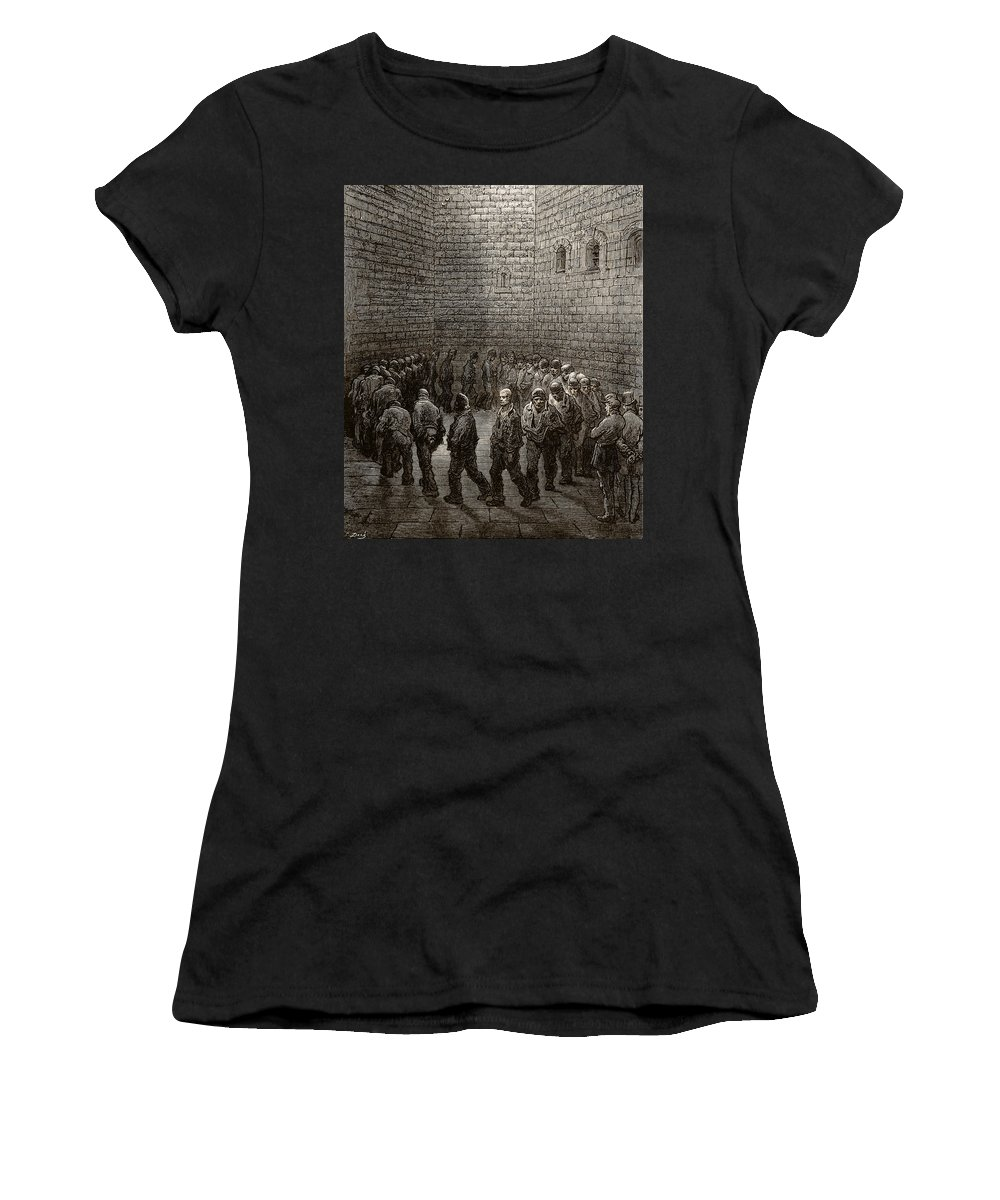 Gustave Dore Women's T-Shirt (Athletic Fit) featuring the drawing Newgate Prison Exercise Yard by Gustave Dore