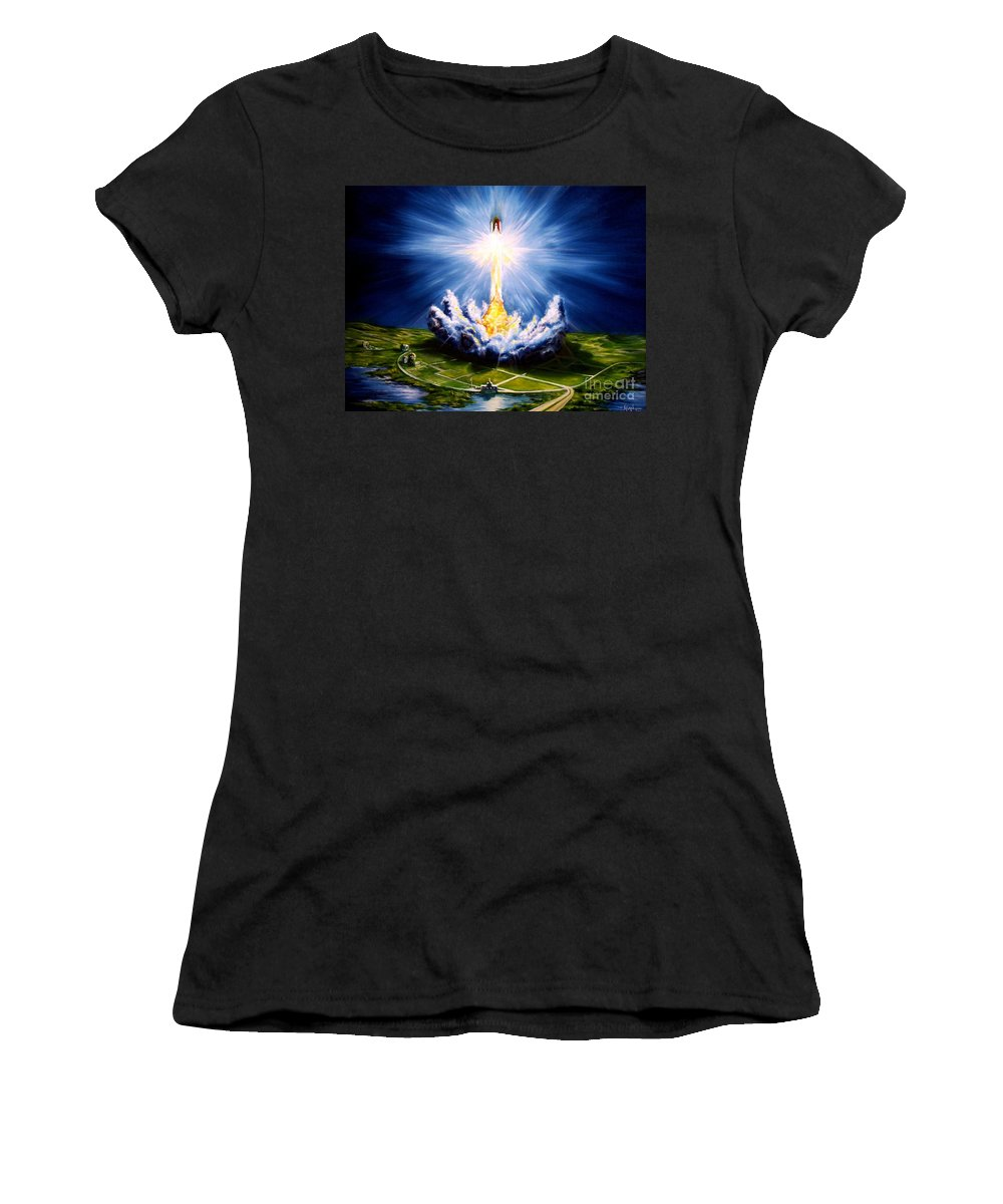 Landscape Women's T-Shirt (Athletic Fit) featuring the painting Night At The Cape by Murphy Elliott