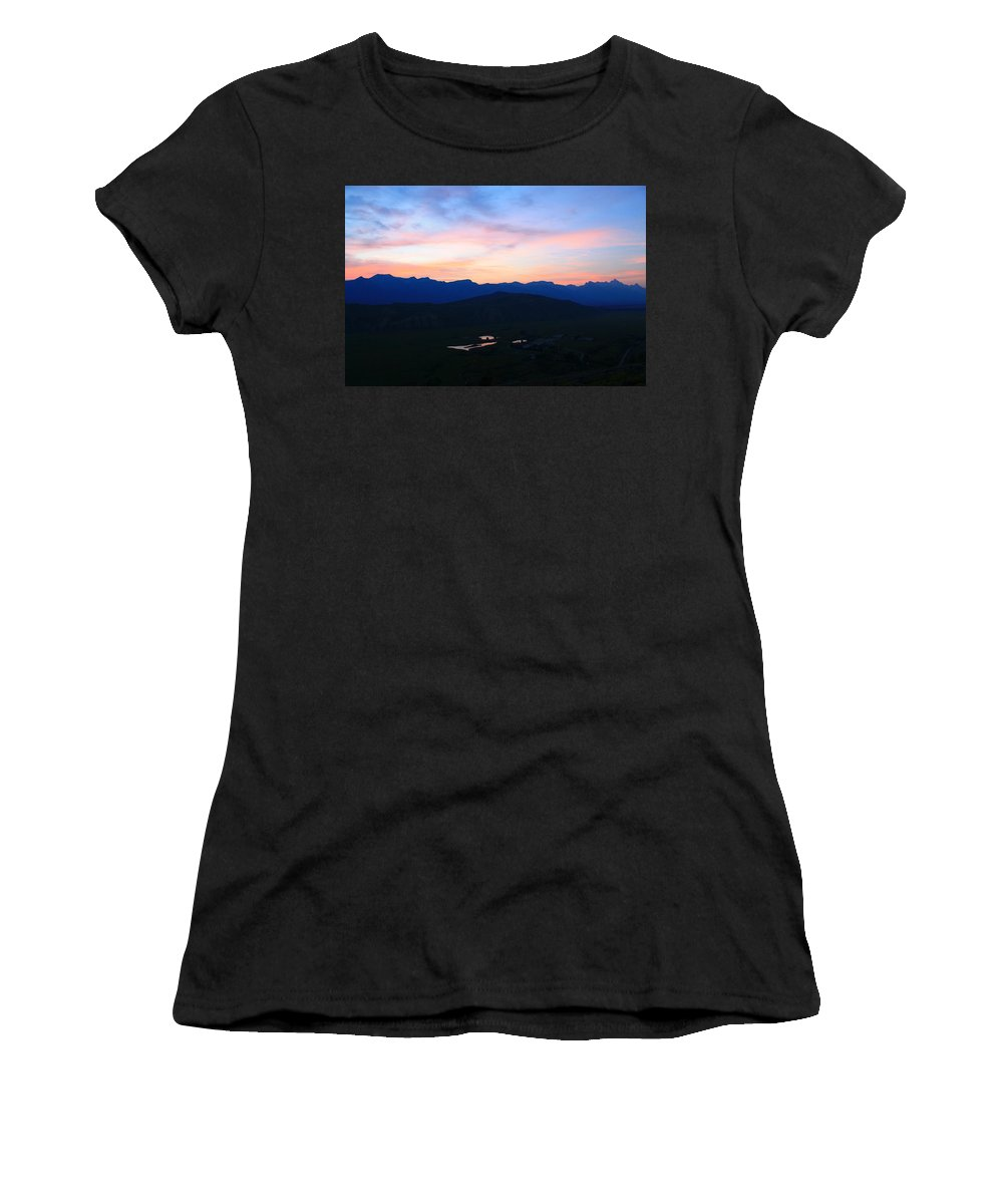 Sunset Women's T-Shirt featuring the photograph Night At The Tetons by Catie Canetti