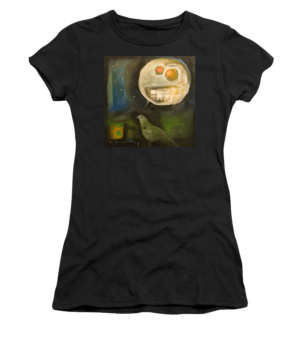 Moon Women's T-Shirt (Athletic Fit) featuring the painting Night Bird Harvest Moon by Tim Nyberg