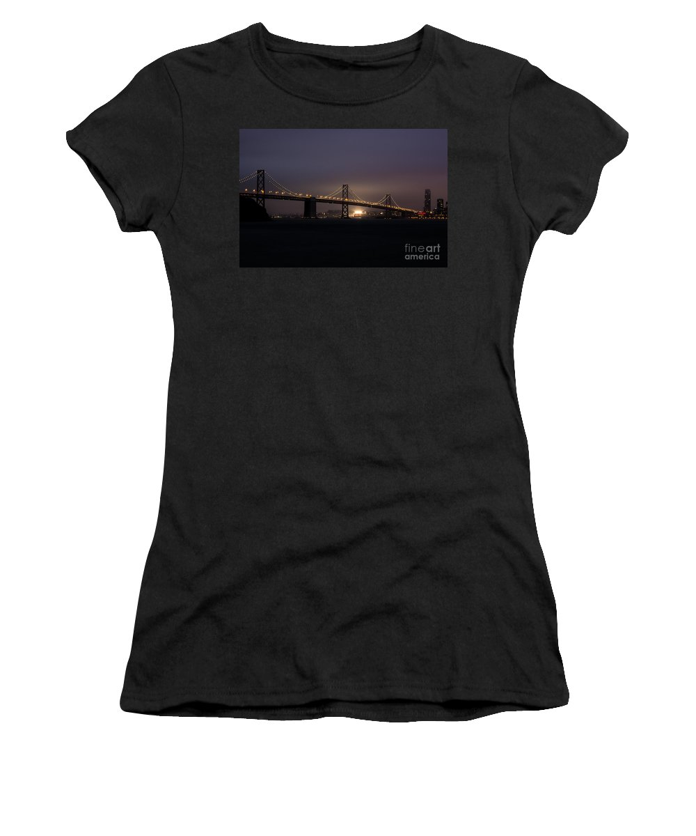 San Francisco Women's T-Shirt (Athletic Fit) featuring the photograph Night Falls On San Francisco by Suzanne Luft