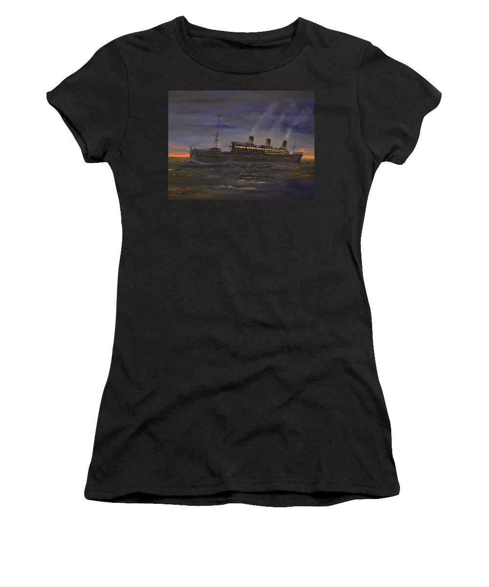 Ship Women's T-Shirt (Athletic Fit) featuring the painting Night Running by Christopher Jenkins