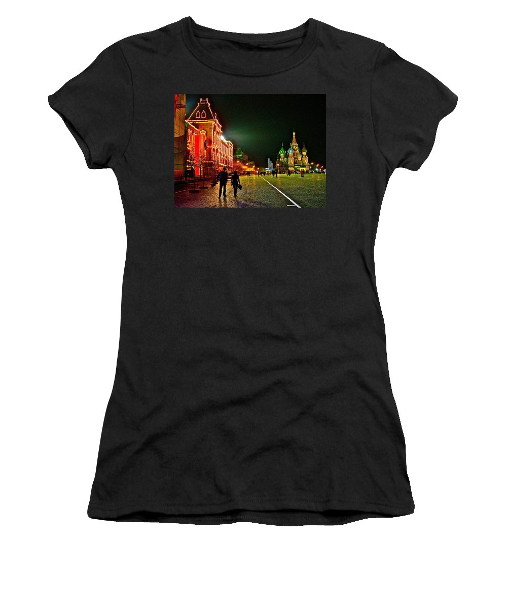 Night View Of Gum And Saint Basil Cathedral In Red Square In Moscow Women's T-Shirt (Athletic Fit) featuring the photograph Night View Of Gum And Saint Basil Cathedral In Red Square In Moscow-russia by Ruth Hager