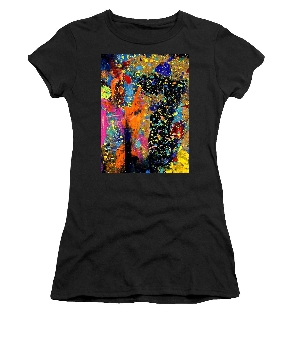 Abstract Women's T-Shirt (Athletic Fit) featuring the painting Nighttown II by John Nolan