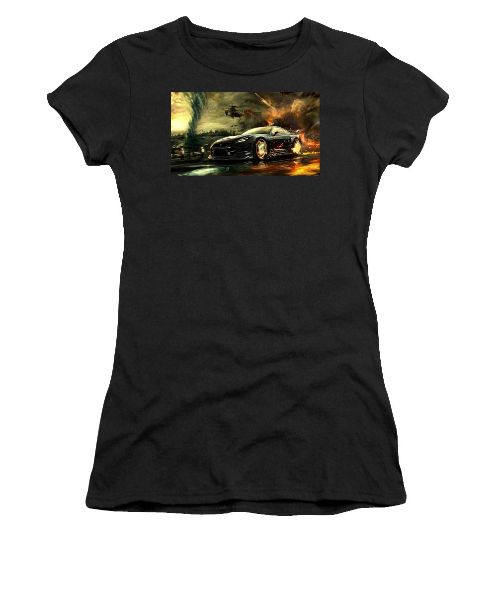Nissan Gtr Women's T-Shirt featuring the photograph Nissan G T R by Movie Poster Prints
