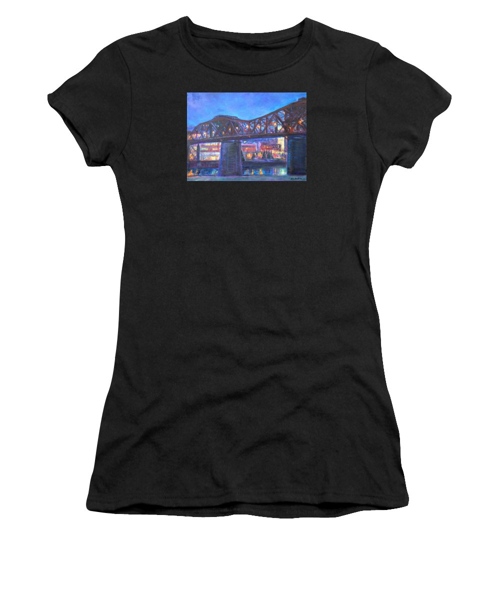 Sky Women's T-Shirt featuring the painting City At Night Downtown Evening Scene Original Contemporary Painting For Sale by Quin Sweetman