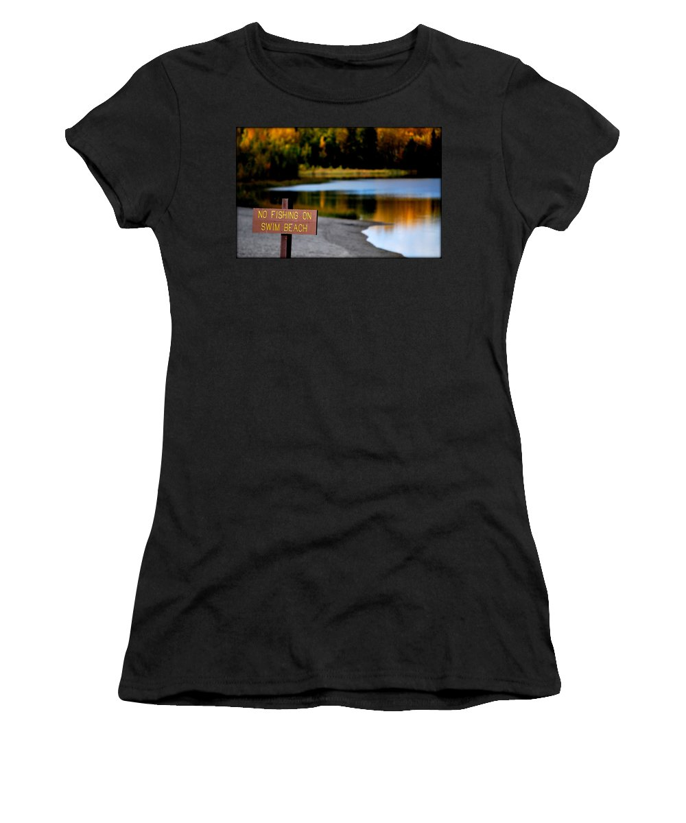 Fish Women's T-Shirt (Athletic Fit) featuring the photograph No Fishing by Kathy Sampson