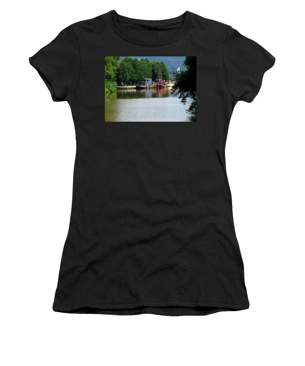 Lock Tugs Women's T-Shirt featuring the photograph Nose To Nose by Eric Swan