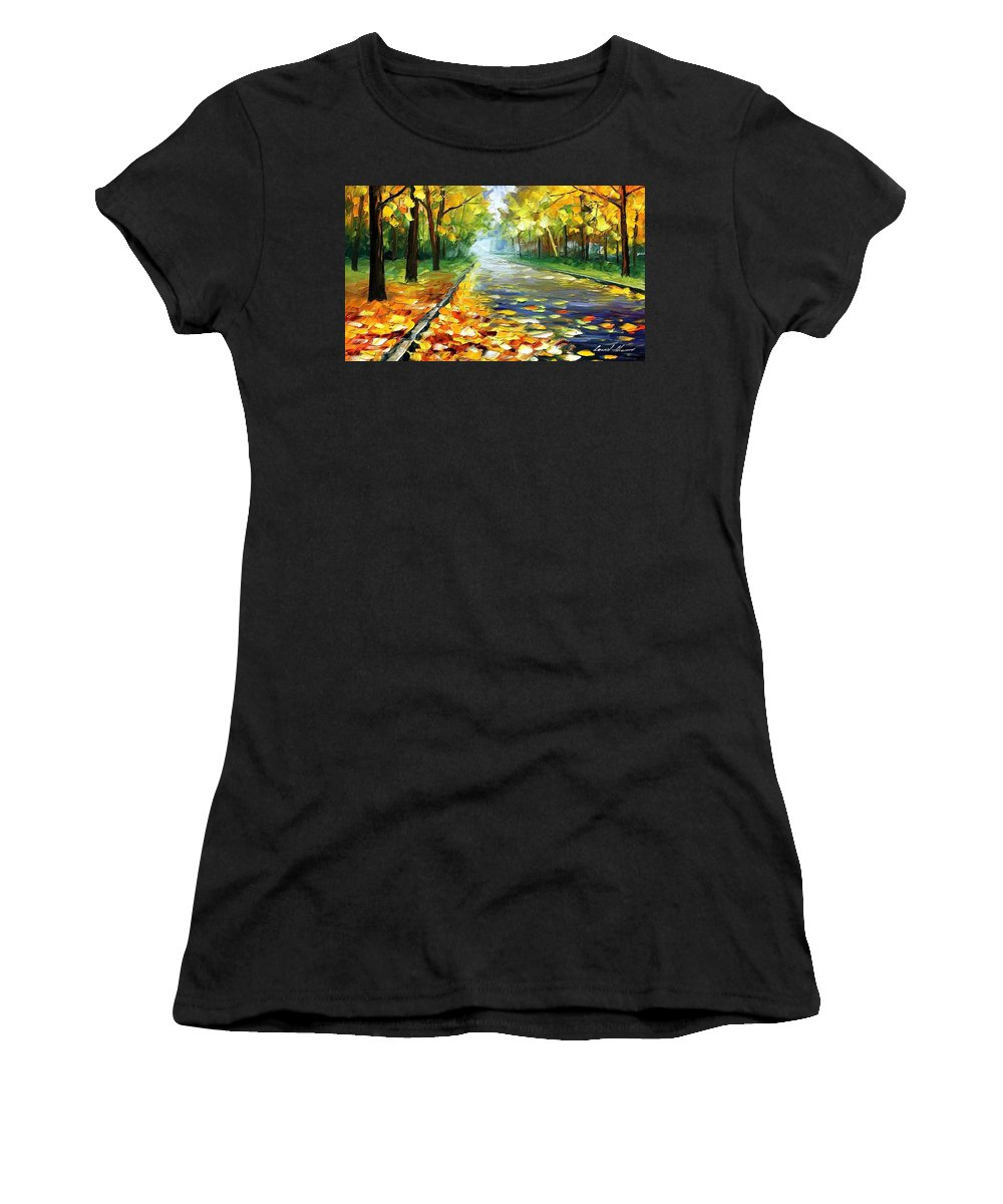 Leonid Afremov Women's T-Shirt (Athletic Fit) featuring the painting November Alley - Palette Knife Landscape Autumn Alley Oil Painting On Canvas By Leonid Afremov - Siz by Leonid Afremov