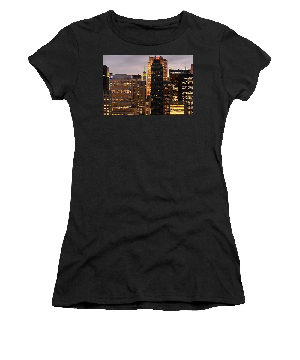 Nyc Women's T-Shirt featuring the photograph Nyc Midtown Golden Lights by Joseph Hedaya