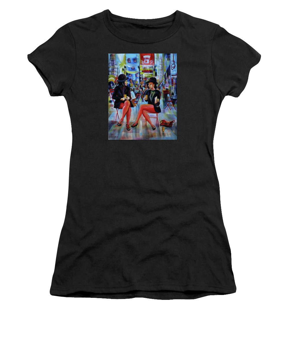 Urban Landscape Women's T-Shirt (Athletic Fit) featuring the painting Nyc Red Chairs by Anna Duyunova