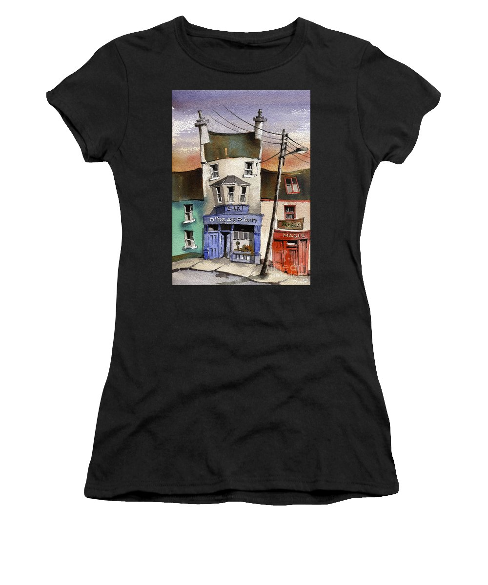 Val Byrne Women's T-Shirt featuring the painting O Heagrain Pub, Viewed 21,339 Times by Val Byrne