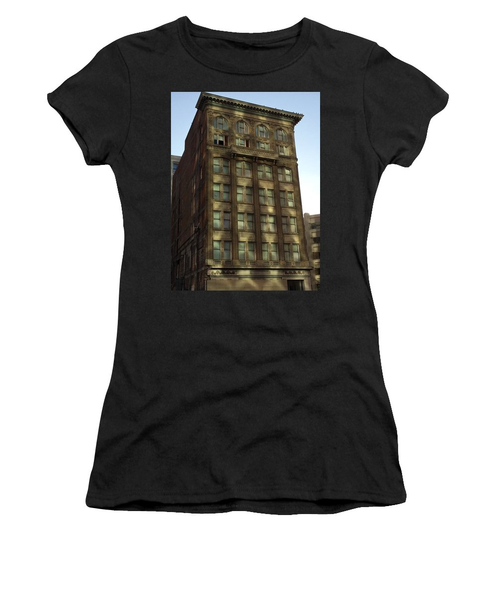 Oakland California Women's T-Shirt (Athletic Fit) featuring the photograph Oakland Downtown Shadows by Bill Owen