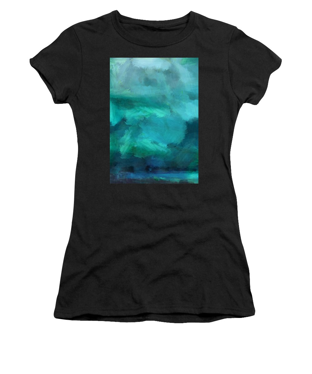 Ocean Women's T-Shirt (Athletic Fit) featuring the mixed media Ocean 5 by Angelina Vick