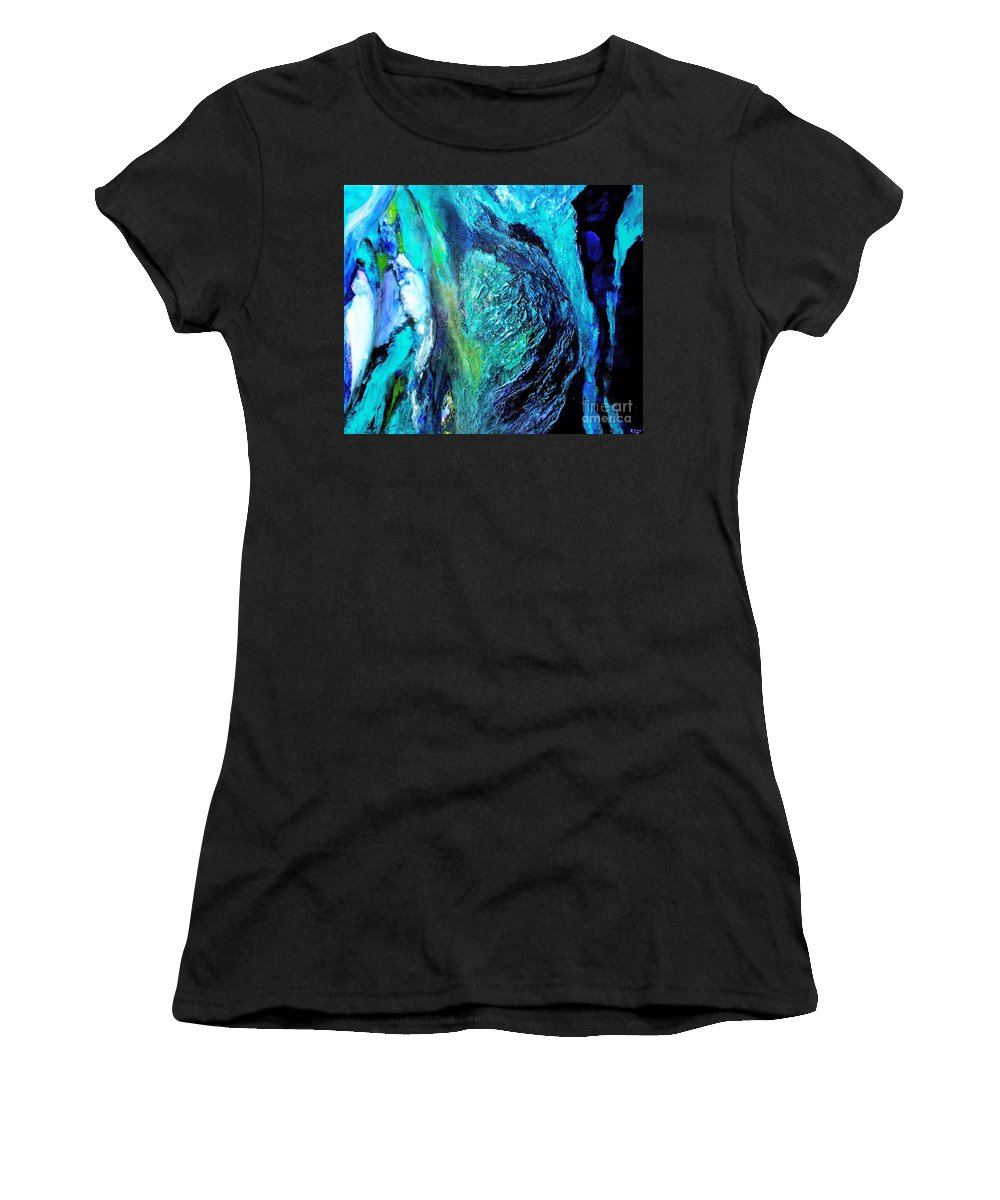 Original Women's T-Shirt (Athletic Fit) featuring the painting Ocean Blues by ElsaDe Paintings