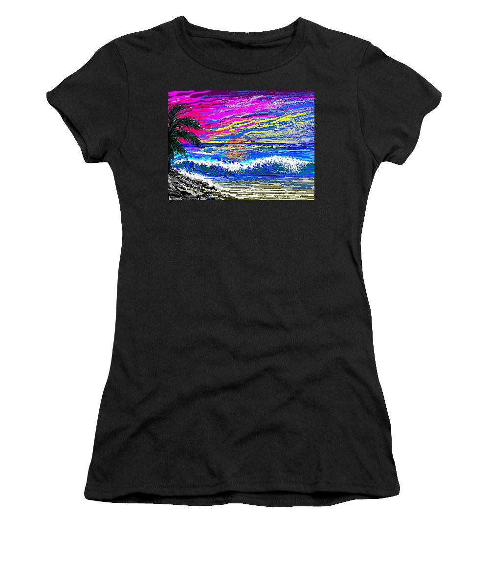 Ocean Sunset Quickly Sketched In One Hour. Women's T-Shirt (Athletic Fit) featuring the digital art Ocean Sunset by Larry Lehman