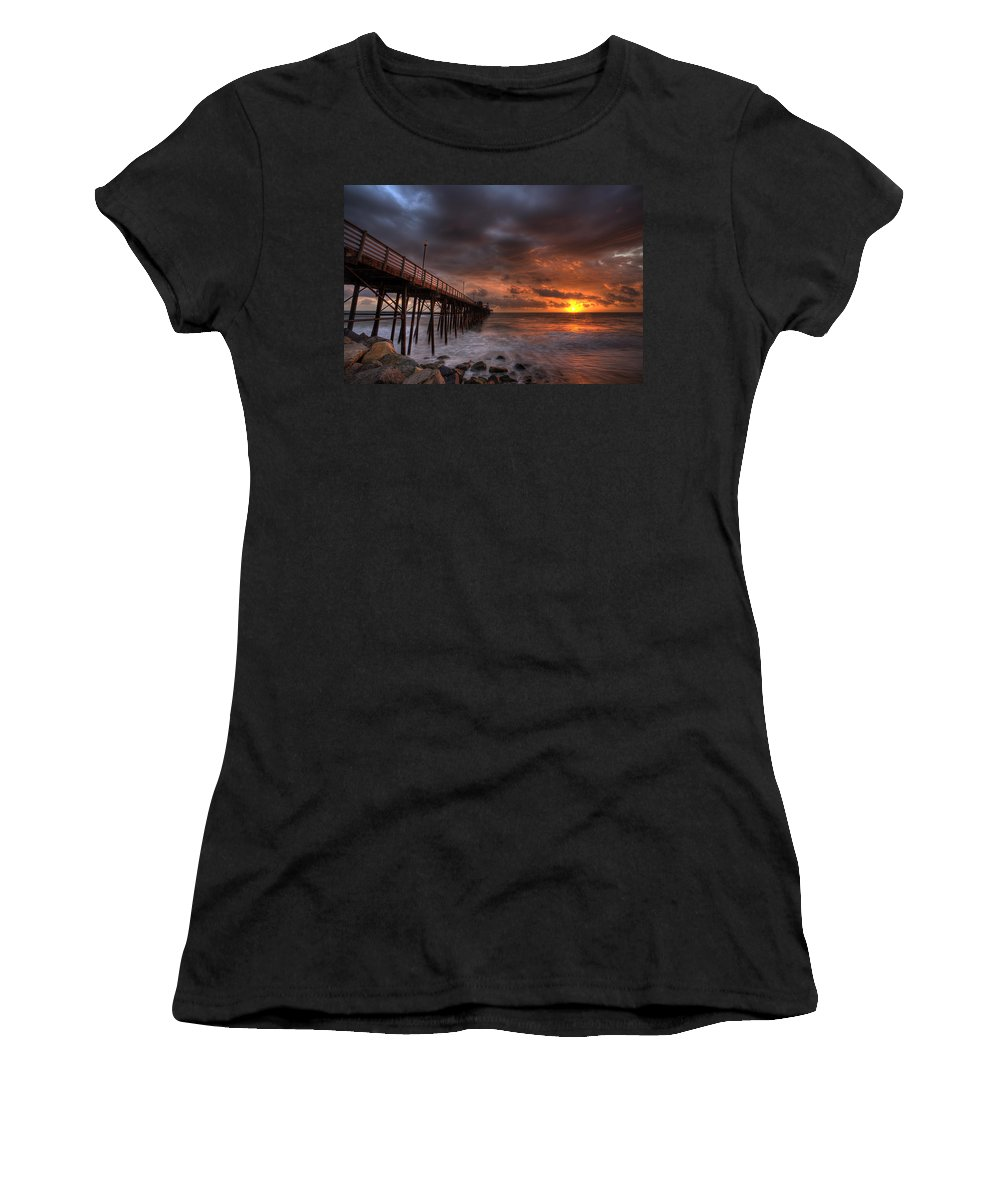 Sunset Women's T-Shirt featuring the photograph Oceanside Pier Perfect Sunset by Peter Tellone