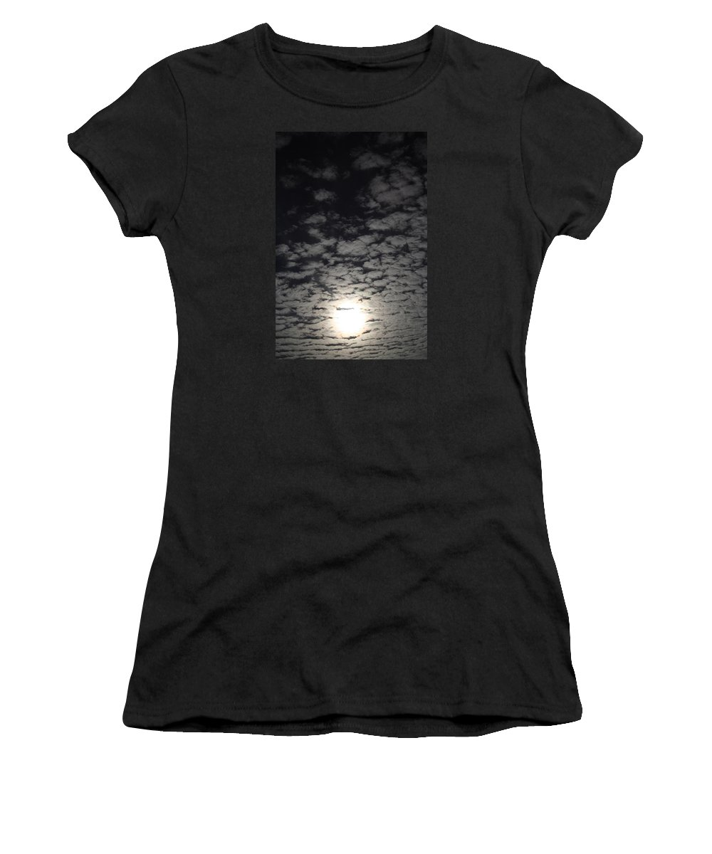 October Women's T-Shirt featuring the pyrography October Moon by Joel Loftus