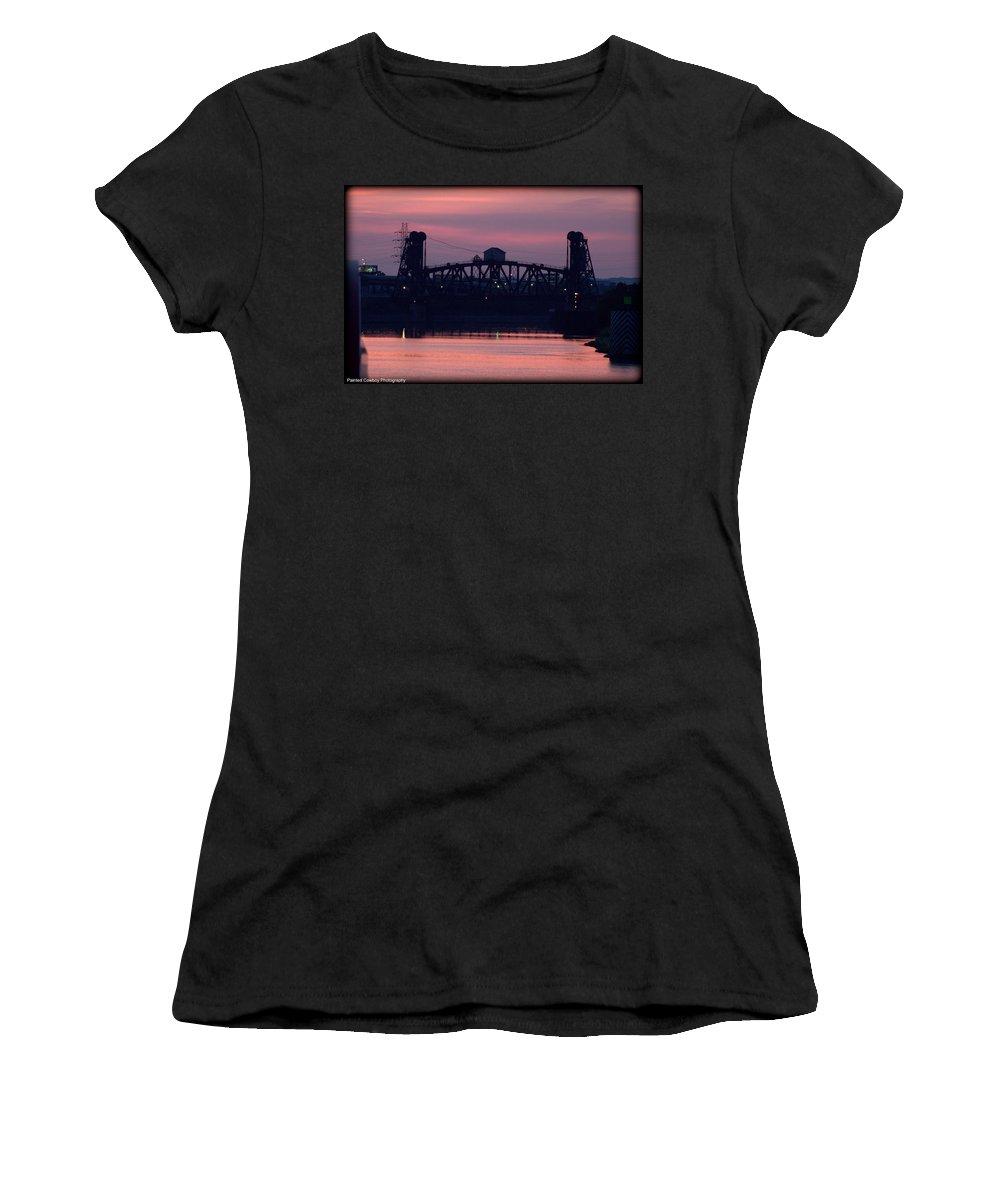 Boat Women's T-Shirt (Athletic Fit) featuring the photograph Ohio River Railroad Bridge by Daniel Jakus