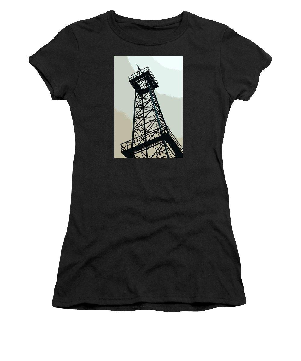 Derrick Women's T-Shirt featuring the photograph Oil Derrick In Gray by Art Block Collections