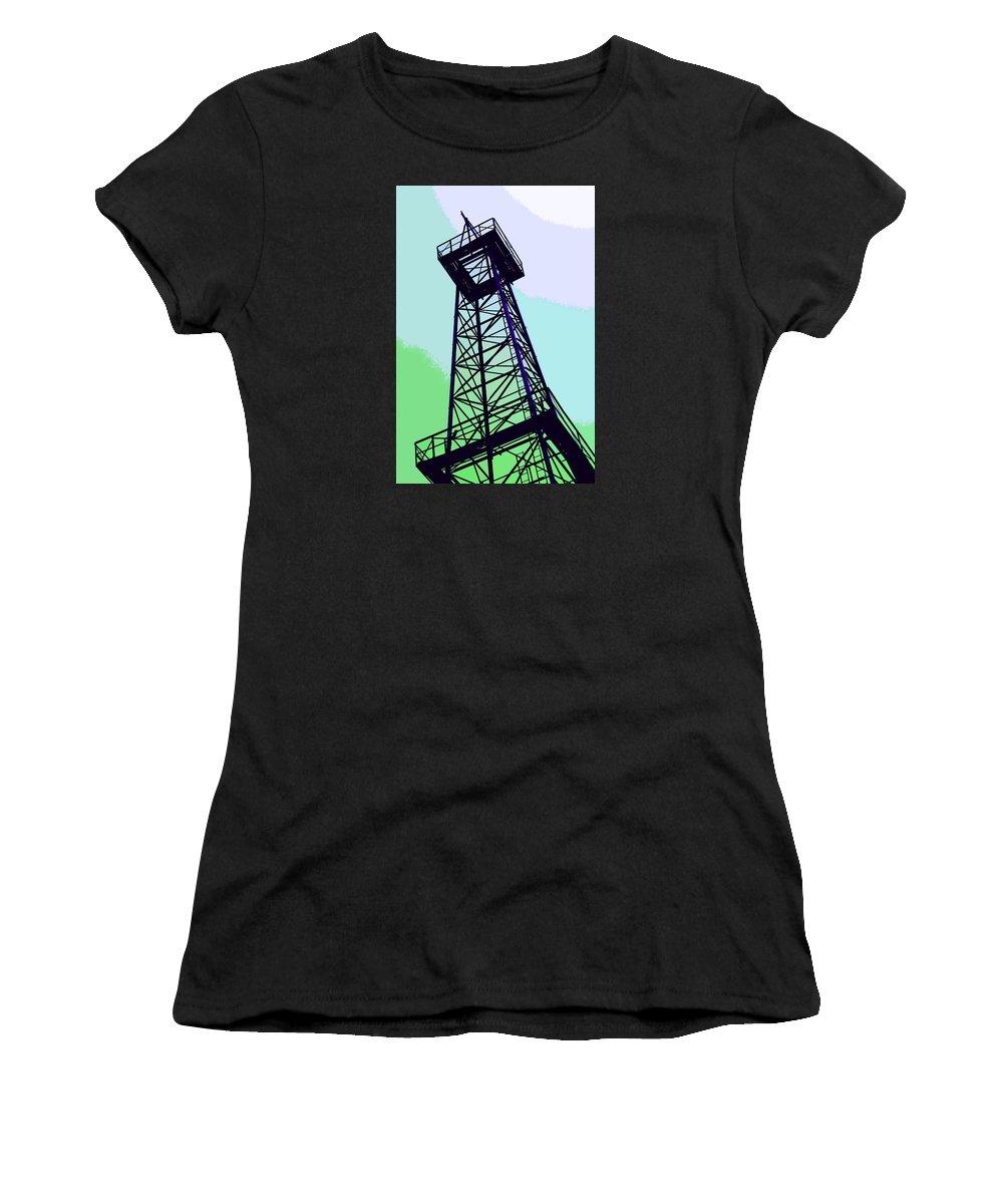 Derrick Women's T-Shirt featuring the photograph Oil Derrick In Green by Art Block Collections