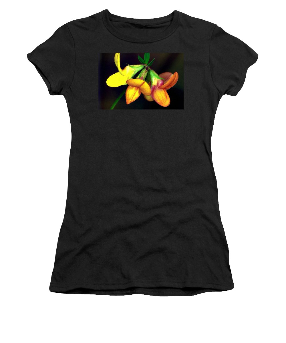 Trefoil Women's T-Shirt featuring the mixed media Yellow And Orange Trefoil by Femina Photo Art By Maggie