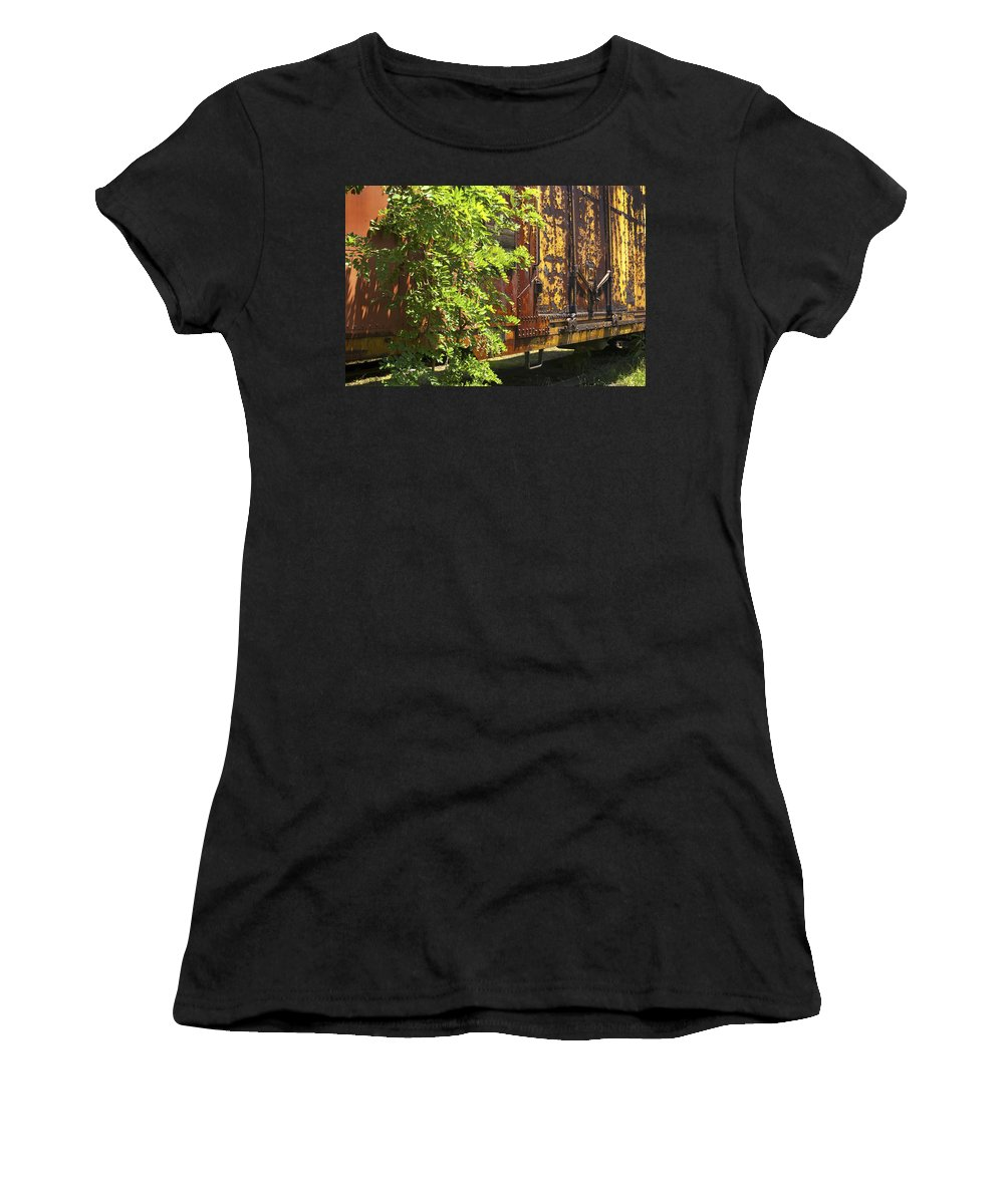 Railroad Women's T-Shirt (Athletic Fit) featuring the photograph Old Boxcar Dying Slowly by Paul W Faust - Impressions of Light