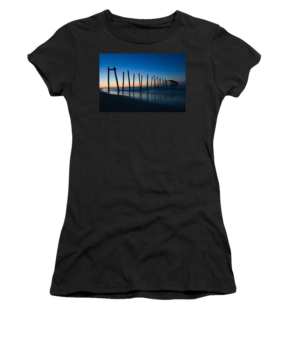 New Jersey Women's T-Shirt (Athletic Fit) featuring the photograph Old Broken 59th Street Pier by Louis Dallara