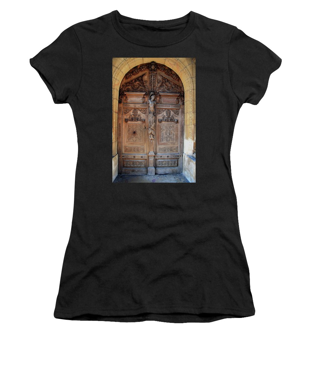 Door Women's T-Shirt (Athletic Fit) featuring the photograph Old Carved Church Door by Christiane Schulze Art And Photography
