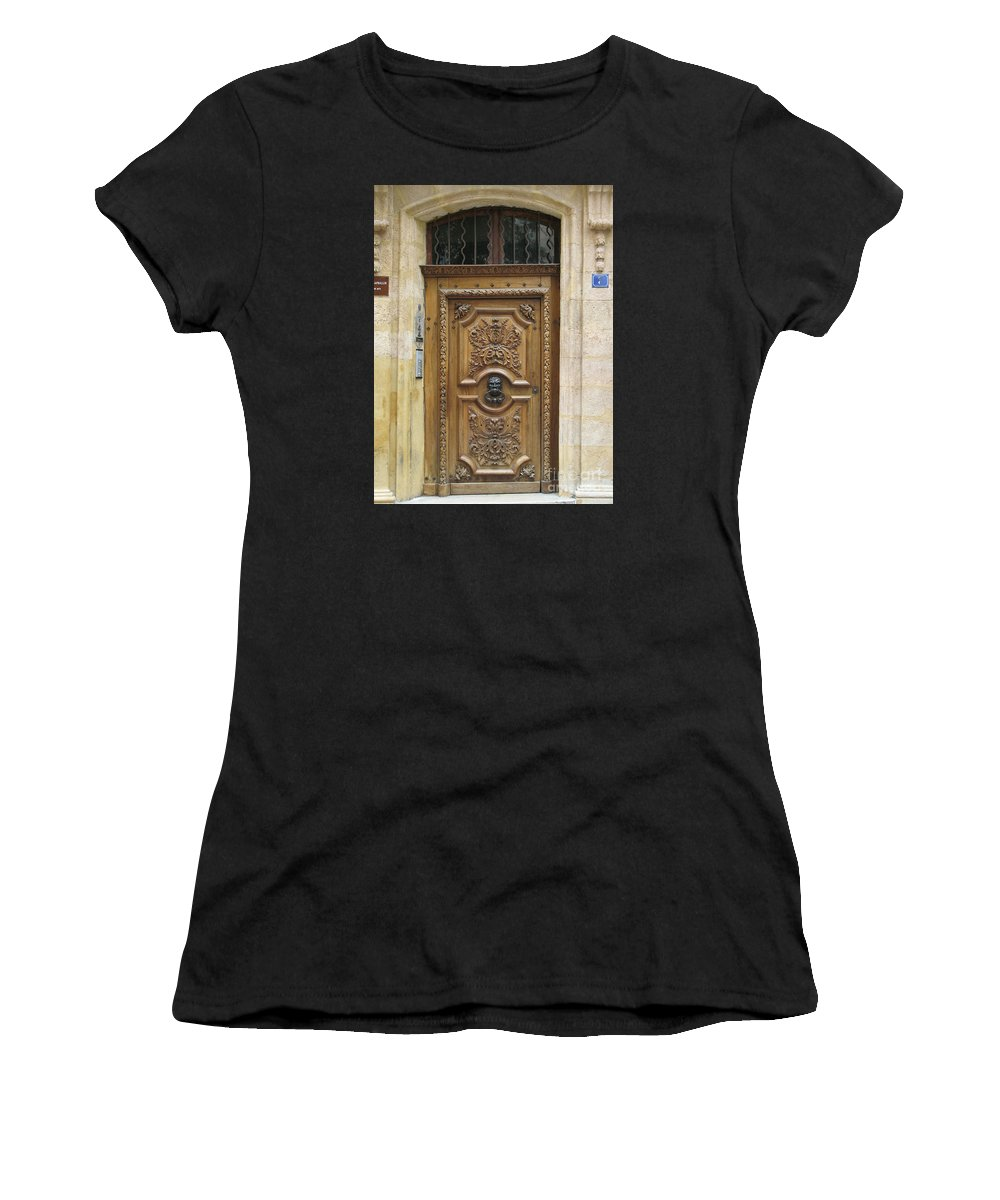Door Women's T-Shirt (Athletic Fit) featuring the photograph Old Carved Door by Christiane Schulze Art And Photography