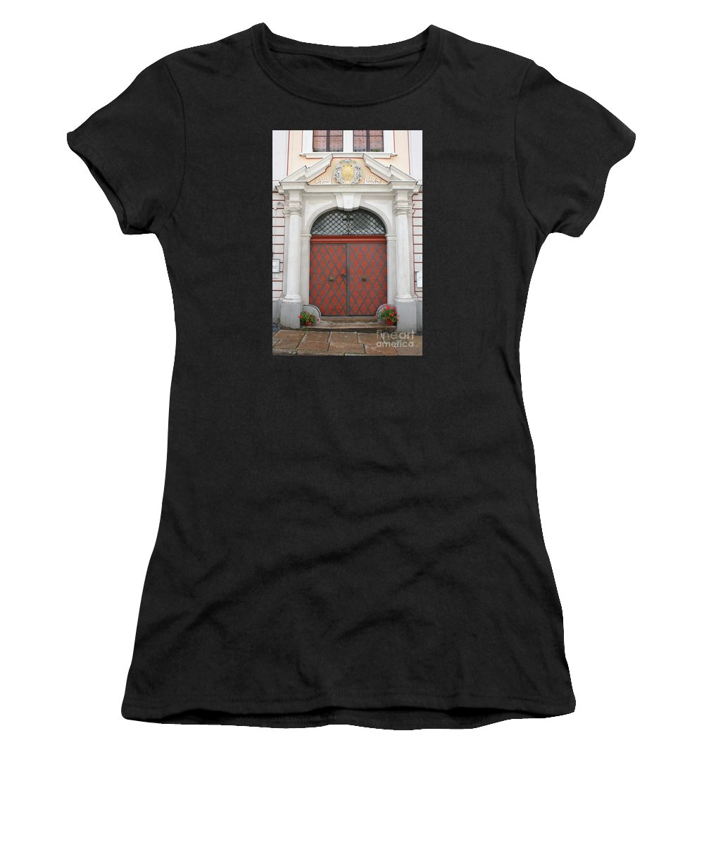 Door Women's T-Shirt (Athletic Fit) featuring the photograph Old Carved Red Door by Christiane Schulze Art And Photography