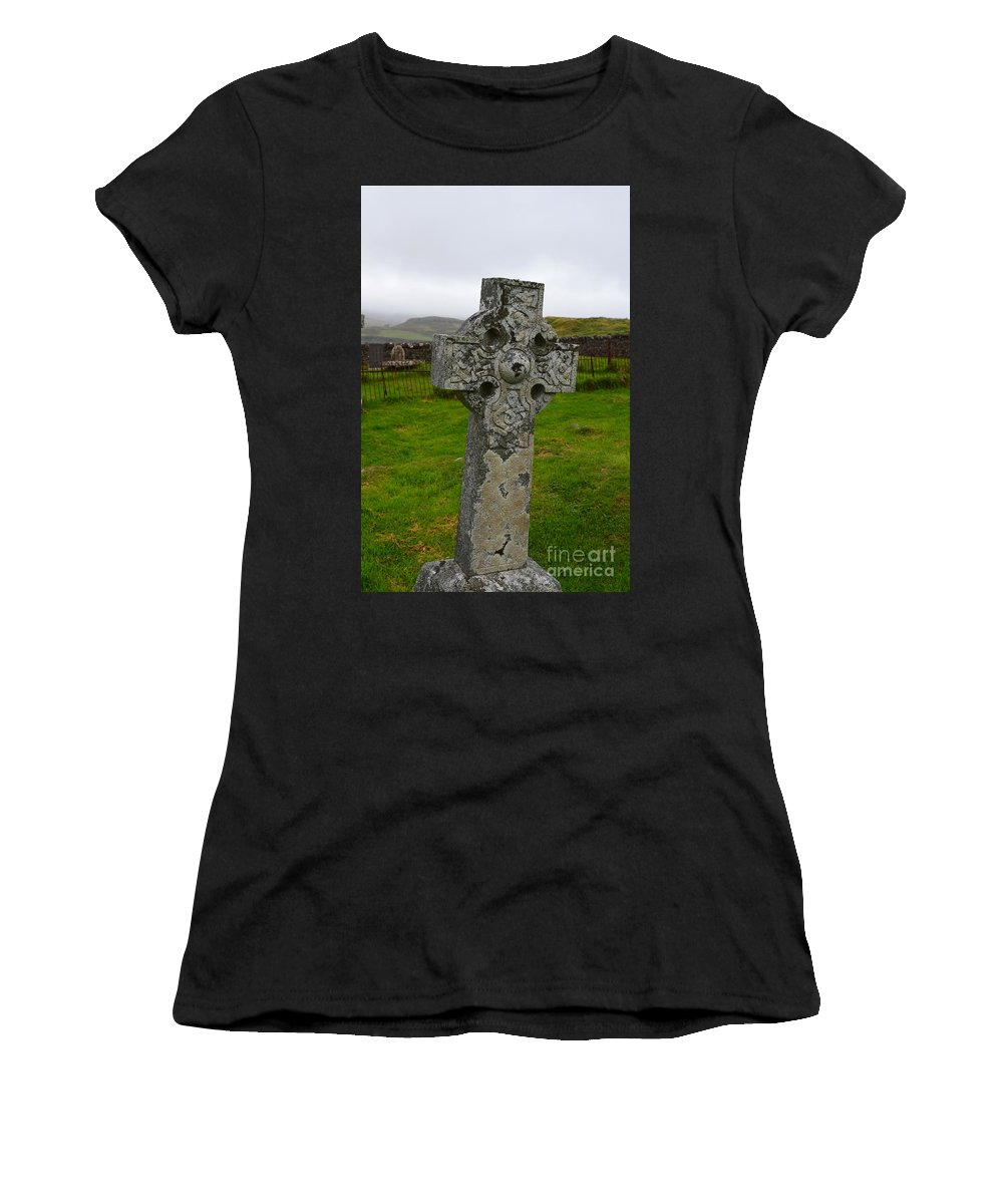 Celtic Cross Women's T-Shirt (Athletic Fit) featuring the photograph Old Cemetery Stones In Scotland by DejaVu Designs