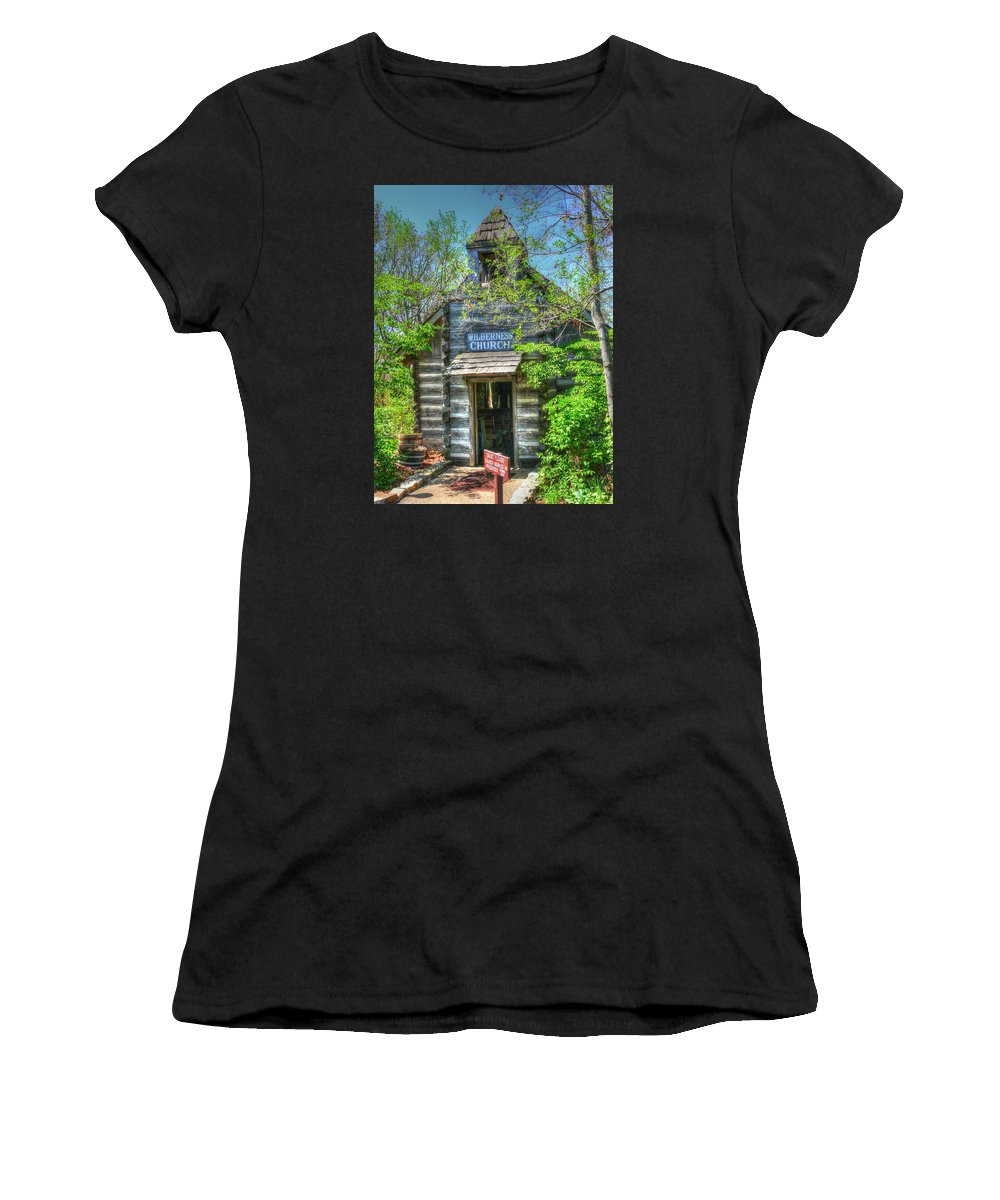 Hdr Women's T-Shirt featuring the photograph Old Church In The Woods by John Straton