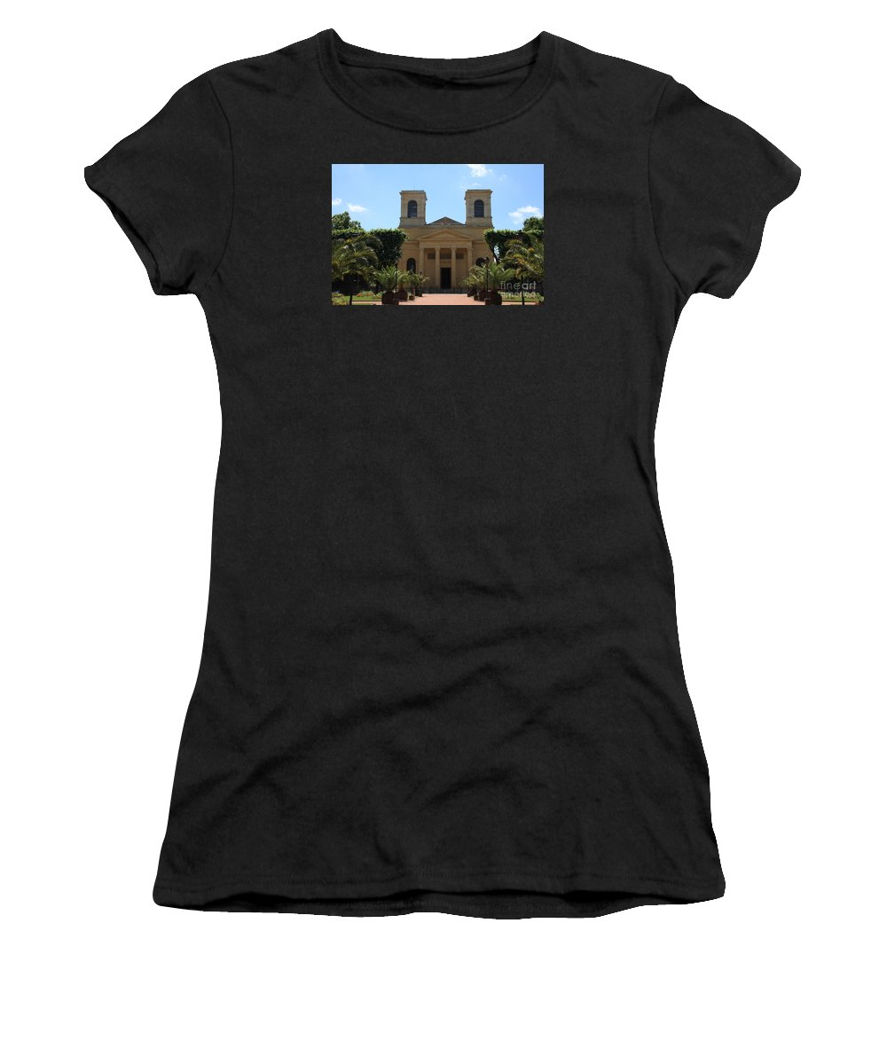 Church Women's T-Shirt (Athletic Fit) featuring the photograph Old Church - Macon - Burgundy by Christiane Schulze Art And Photography