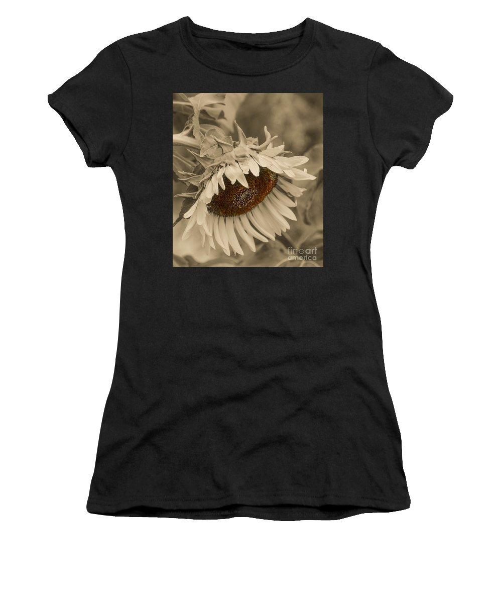 Mexican Women's T-Shirt (Athletic Fit) featuring the photograph Old Fashioned Sunflower by Michael Moriarty