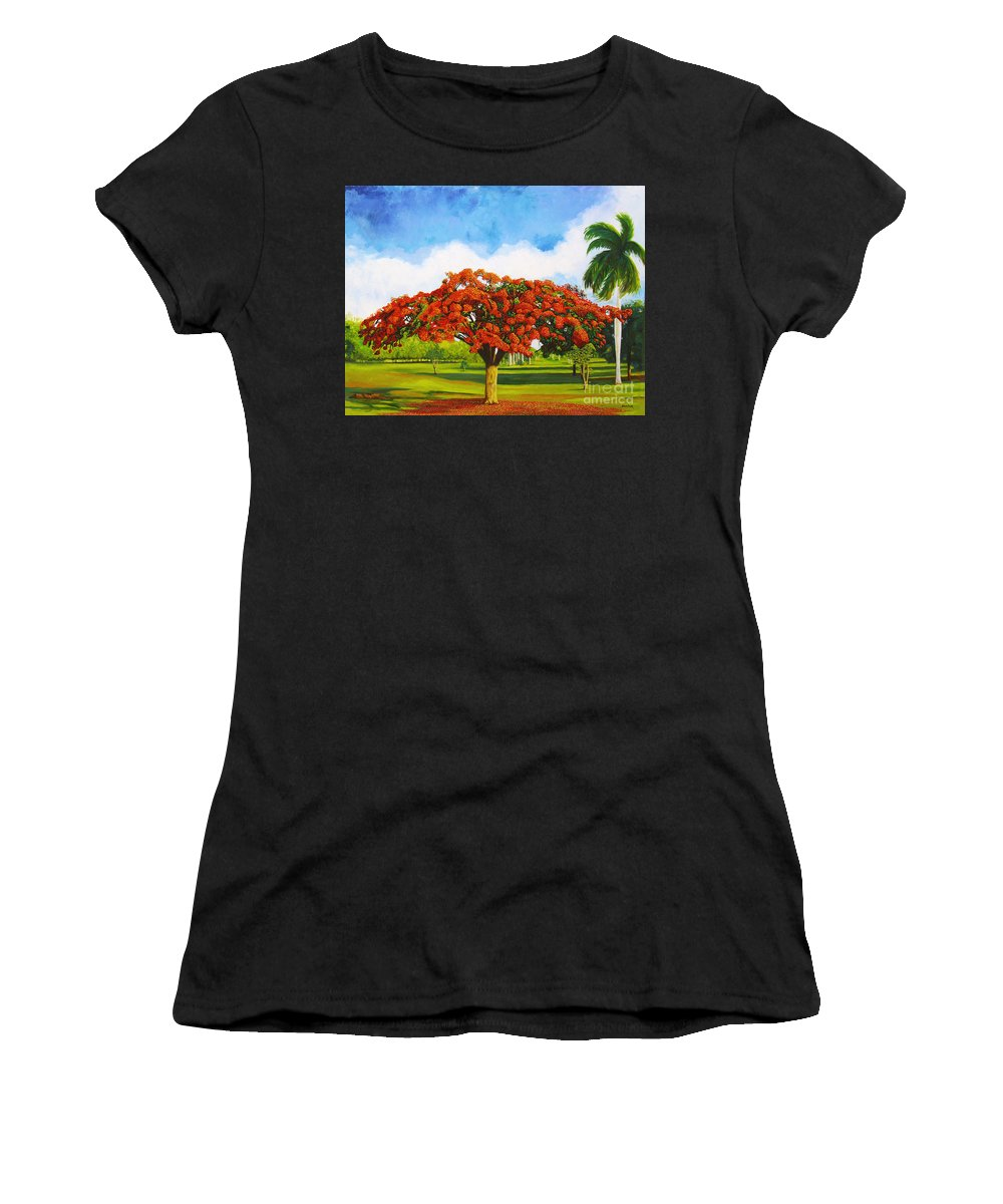 Cuba Art Women's T-Shirt (Athletic Fit) featuring the painting Old Flamboyan by Jose Manuel Abraham