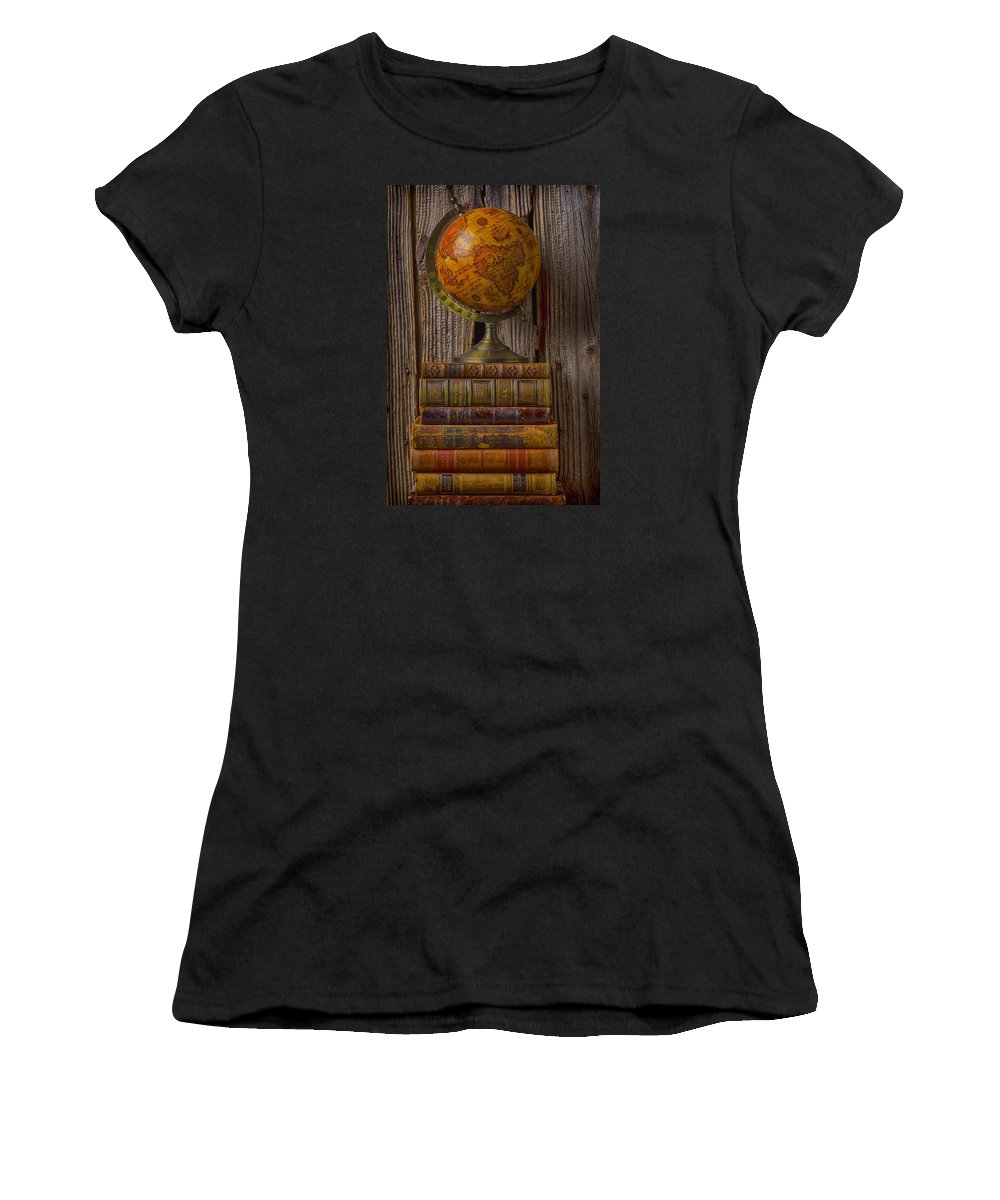 Globes Women's T-Shirt featuring the photograph Old Globe On Old Books by Garry Gay