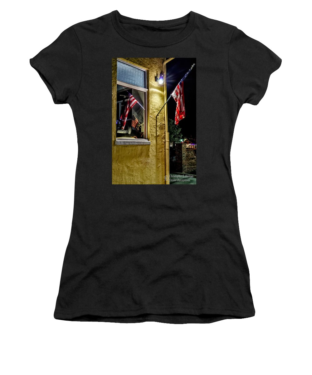 Christopher Holmes Photography Women's T-Shirt featuring the photograph Old Glory Reflected by Christopher Holmes