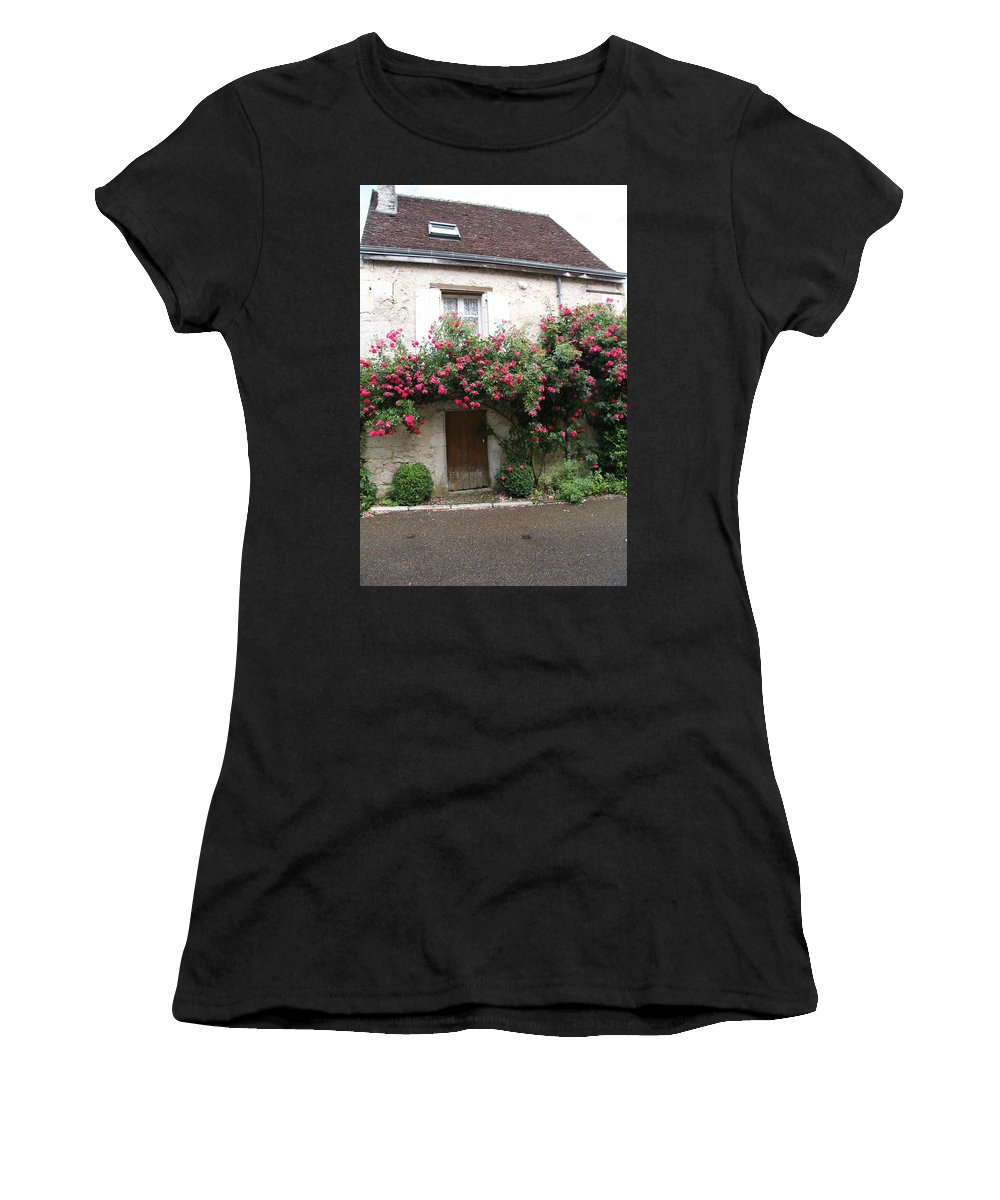 Rose Women's T-Shirt (Athletic Fit) featuring the photograph Old House Covered With Roses by Christiane Schulze Art And Photography