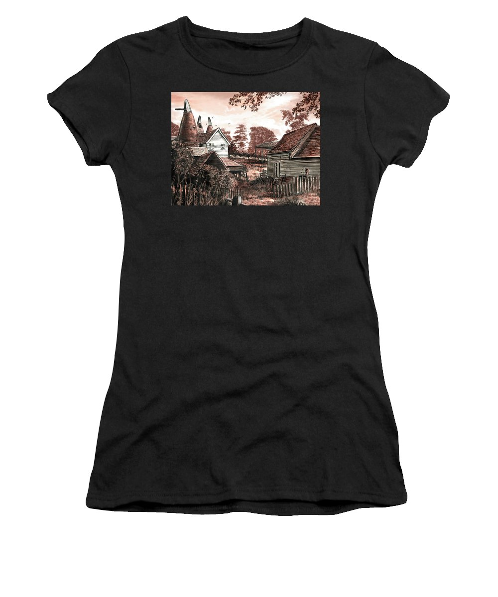 Steve Crisp Women's T-Shirt featuring the photograph Old Kentish Oasts by MGL Meiklejohn Graphics Licensing