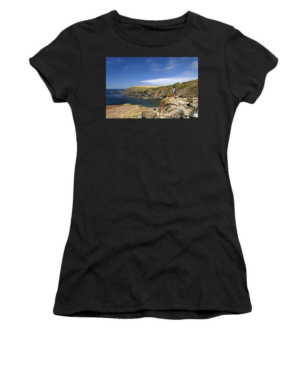 Britain Women's T-Shirt (Athletic Fit) featuring the photograph Old Lizard Head And Polpeor Cove by Rod Johnson