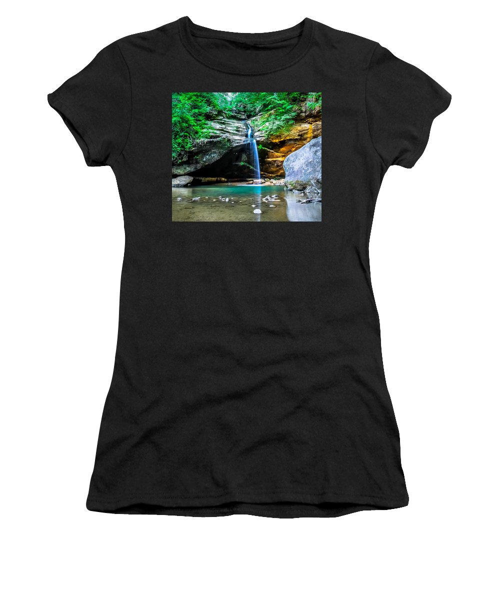 Optical Playground By Mp Ray Women's T-Shirt featuring the photograph Old Mans Cave Lower Falls by Optical Playground By MP Ray