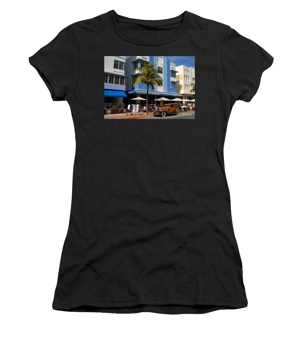 Miami Florida Women's T-Shirt (Athletic Fit) featuring the photograph Old Miami by David Lee Thompson