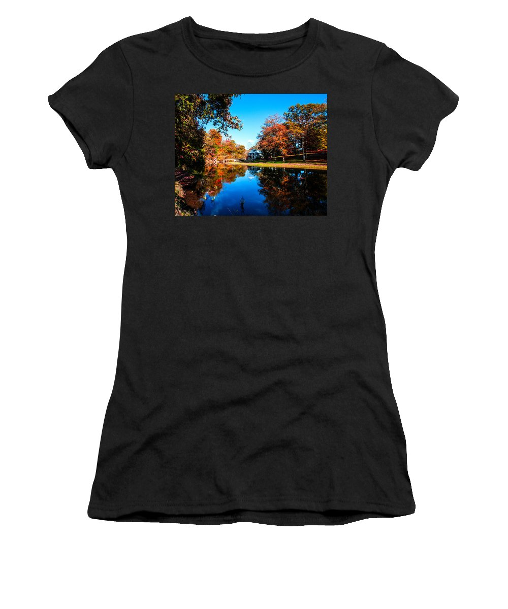 Old Mill House Pond In Autumn Fine Art Photograph Print With Vibrant Fall Colors Women's T-Shirt (Athletic Fit) featuring the photograph Old Mill House Pond In Autumn Fine Art Photograph Print With Vibrant Fall Colors by Jerry Cowart