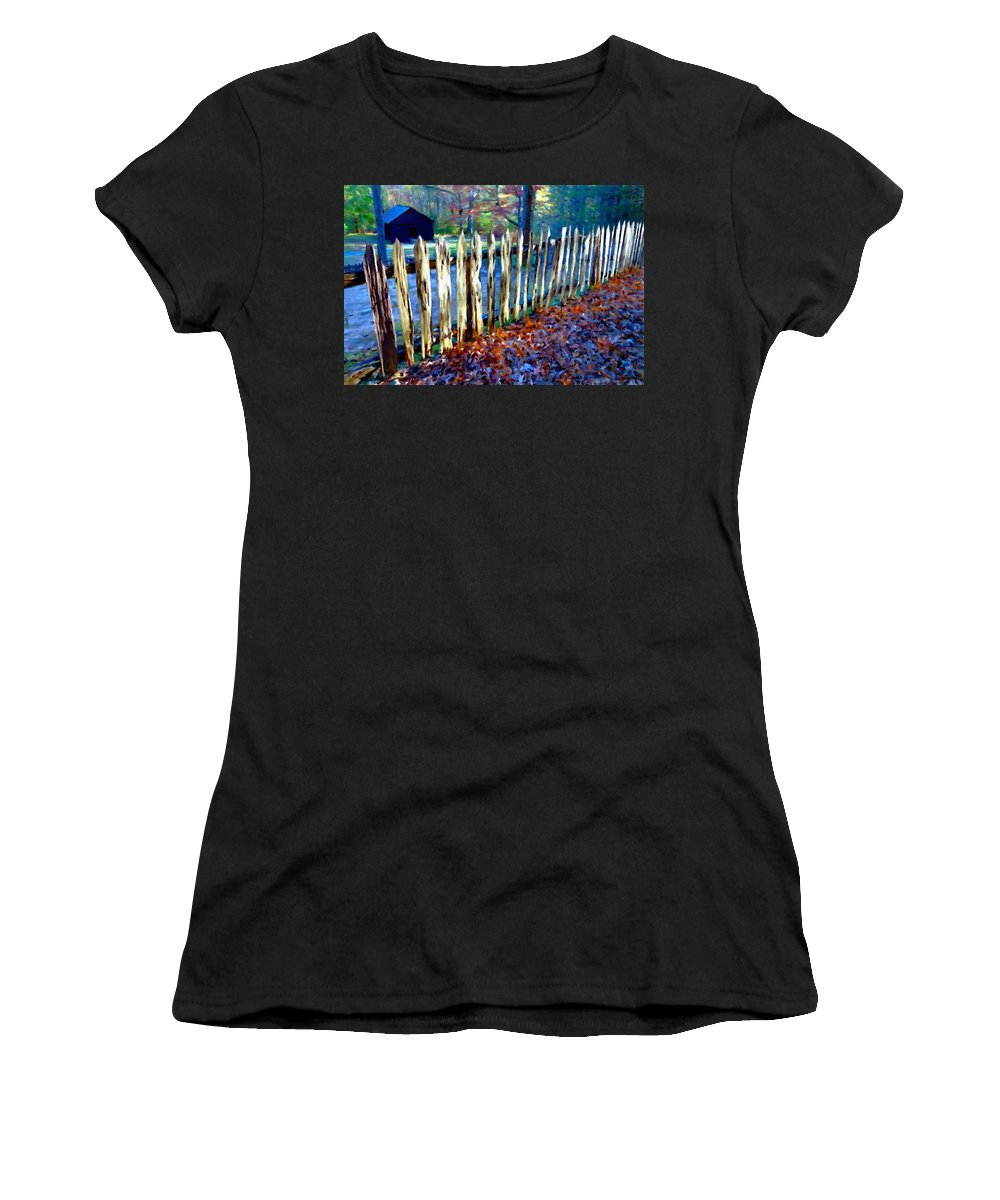 Old Fence Women's T-Shirt featuring the photograph Old Picket Fence Greenbrier School by Rebecca Korpita